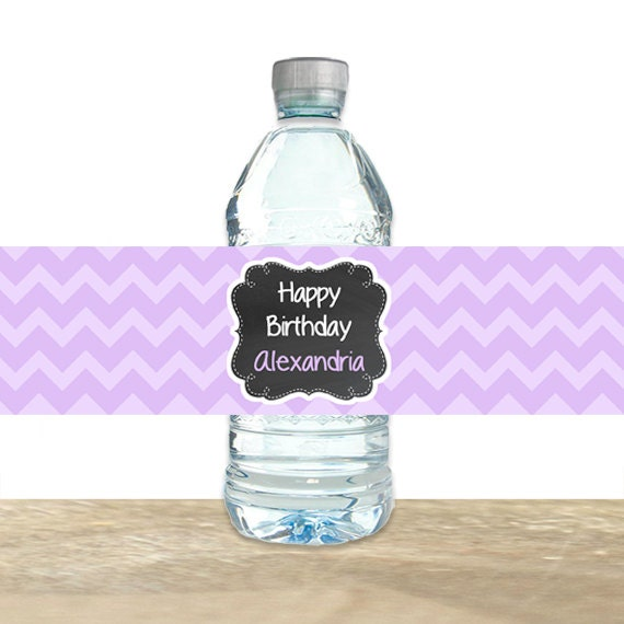 personalized water bottle labels chevron chalkboard water