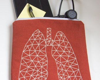 Zippered Bag with Hand Embroidered Geometric Lung  Design -orange