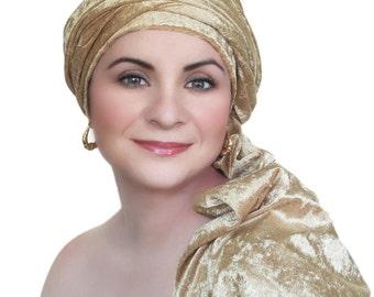 Gold Velvet Turban, Head Wrap, Chemo Hat, Alopecia Scarf, Hijab, One Piece Wrap 332-11