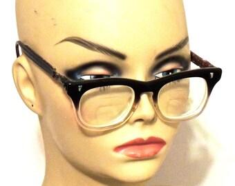vintage ombre glasses - 1950s-60s grey fade Marine eyeglasses