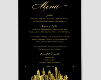 "Black and Gold Foil Reception Menu, ""City Skyline At Night""; 5x7"" or 4x10"" customizable with your wedding colors and preferred skyline"