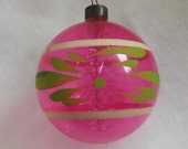 Vintage Christmas ornament unsilvered WWII ornament pink tinsel ornament white stripe green flower hand painted