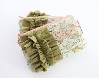 mini ruffle clutch -- vintage map