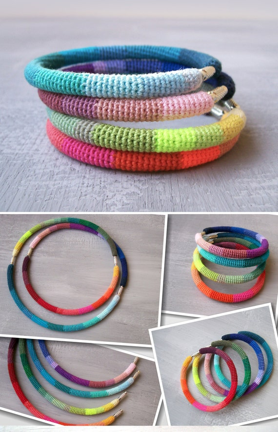 4 Rainbow Bangles, Stacking Bangles, Color Galore Bangles, Crochet Bracelets Convertible Jewelry