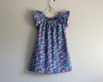 New! Little Girls Purple  and Turquoise Flutter Sleeve Dress - Purple and Pink Flowers on Turquoise - Size 12m, 18m, 2T, 3T, 4T, 5, 6 or 8