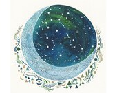 Moon Art, Original Painting-hymns to a crescent moon