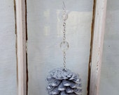 Silver Pine Cone Ornament with Crystal and Beads Christmas Pine Cone