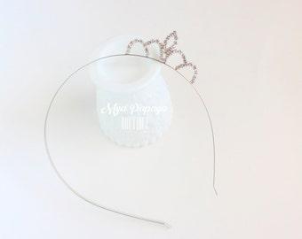 SILVER rhinestone Princess Crown Headband Bow Halloween birthday photo prop