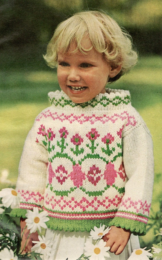 vintage knitting pattern circular knit toddlers pullover wild rose ...