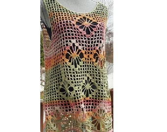 SALE: Layer Tunic Top/ Relax fit Cover up / Sleeveless / open knit crochet from cotton /One Of A Kind / Fits Size US  L-XL / Ready to ship
