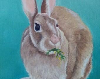 Rabbit Painting Bunny Rabbit Oil Painting Hare on Canvas Brown Rabbit Art Pet Painting Brown Rabbit Painting Kid's Decor Rabbit Karen Snider