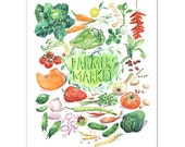 Farmers market print, Vegetable poster, Botanical print, Kitchen decor, Watercolor painting, 8X10 print, Kitchen wall art, Home decor