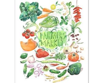 Farmers market print, Vegetable poster, Botanical illustration, Kitchen decor, Watercolor painting, Vegan print, Kitchen wall art Home decor
