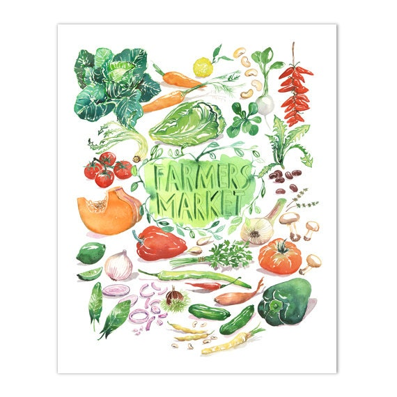 Kitchen Art Vegetables Print Botanicals Kitchen Art: Items Similar To Farmers Market Print, Vegetable Poster