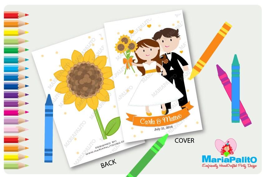 6 Wedding Coloring Books Sunflower Wedding Bride Groom