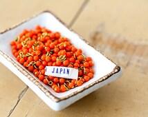 Vintage Japan Miriam Haskell Orange Glass Bead Drops Charms