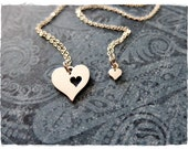 Silver Piece of My Heart Necklace Set - Sterling Silver Piece of My Heart Charms on TWO Delicate 18 Inch Sterling Silver Cable Chains