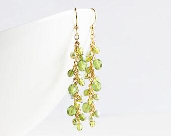 Olive Green Cluster Dangle Earrings on Gold Plated Hooks, Long Beaded Earrings