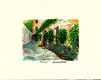 """Original Italian Landscape Scenic ART Painting Original Watercolor Italian Landscape """"TUSCANY"""" Italy Italian Landscape & Scenic"""