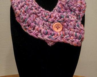 LAST ONE! Perwinkle - Handmade Crocheted Adjustable Neckwarmer/Cowl - Pink and Purple Scarf