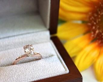 Morganite Solitaire Engagement Ring, 14K Rose Gold, pink stone ring