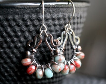 Handmade wire wrapped dangle earrings, oxidized copper earrings, aqua blue and red, Czech glass, beaded, Mimi Michele Jewelry