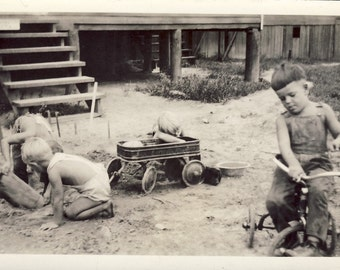 Four BOYS PLAYING In The YARD with Wagon and Tricycle Photo circa 1940s
