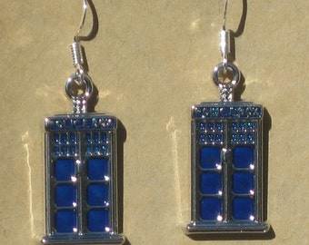 Blue Enamel TARDIS Earrings
