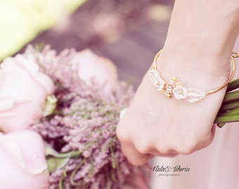 Eirin, delicate bracelet, due drop romantic bridal bracelet, wedding jewelry