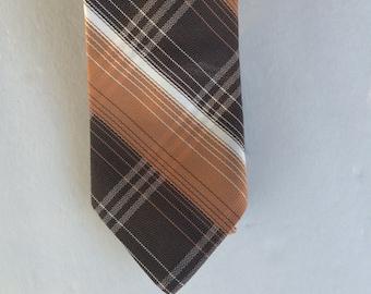 Brown and Tan Plaid 70s Vintage Necktie 3 Inch Wide Retro Mens Neck Tie
