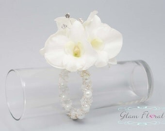 Cream White Orchid Wrist Corsage . Real Touch Dendrobium Orchid Flowers with rhinestones