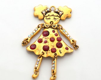 Large moving doll charm - gold tone girl charm with crystals - 71mm (2.8 inch) charm