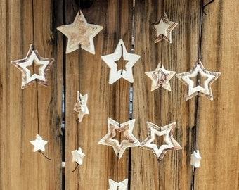 WIND CHIME -Stars- White Ceramic Windchime,Outdoor Art-Indoor Mobile, Garden Art