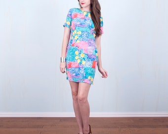 90's Silk Dress / Colorful Pastel Watercolor Bodycon Mini Petite / Size Small