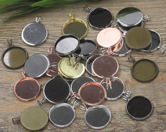 50 Brass Silver/ Gold/ Rose Gold/ White Gold/ Gun-Metal Plated 10mm/ 12mm/ 14mm/ 16mm/ 18mm/ 20mm Round Bezel W/ V ring- Z5513a