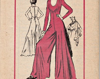 1970's Palazzo Jumpsuit Pattern  Prominent Designer A983  Dominic Rompollo  Mail Order Designer Pattern Uncut, Factory-Folded  Bust 34
