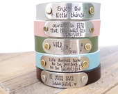 Custom Leather Bracelet - Choose Your Color & Words. Create Your Own, Personalized Custom Leather Bracelet. Pink, Green, Brown, Teal Leather