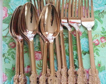 Sale 30 ASSORTED FAUX COPPER Cutlery Plastic Forks Spoon Knive Tableware Rose Gold Vintage Style Wedding Shower Tea Party Shabby Chic Floral
