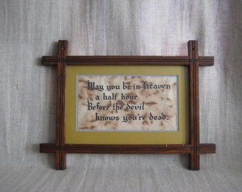 Vintage Framed Calligraphy / Vintage Mission Style Wood Frame with Kitschy Artwork