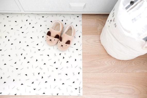 Geometric Rug / Minimalist Kids Room / Decorative Floor Rug | Kitchen Mat | PVC Rug | Kids Decor / Minimalist Nursery / Black and White Room