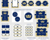 Prince Birthday Party Printables, Printable Birthday Party Decorations, Royal Blue, Gold Glitter, Invitation Included, Printable PDFs