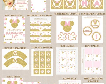 Minnie Mouse Birthday Party Printables, Printable Party Decorations, Pink, Gold Glitter, Personalized, Any Age, PDF