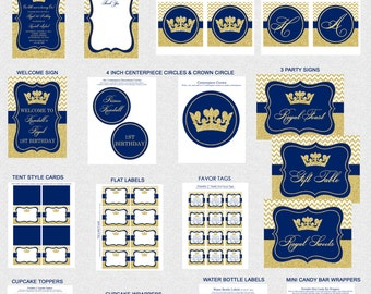 Prince Birthday Party Package, Printable Prince Birthday Party Decorations, Dark Blue, Gold Glitter, Personalized, Printable