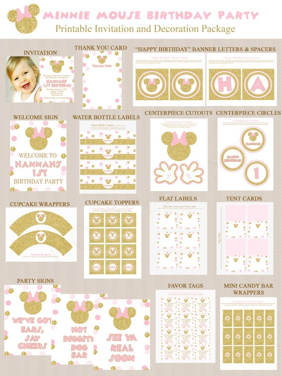 gold glitter and pink minnie mouse birthday party printables minnie mouse party decorations. Black Bedroom Furniture Sets. Home Design Ideas