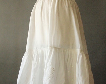 Antique 1800's Victorian White Linen Cotton Floral Eyelet and Embroidered Tiered Ruffle Petticoat