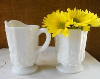 Mid Century WESTMORLAND MILK GLASS Milk Sugar Serving Set Pedestal Pieces Cream Pitcher Sugar Bowl Tumbler Heavy Classic American Milk Glass