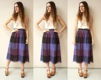 Vintage Check Grunge Tartan Wool Midi Skirt With Fringing Size Small
