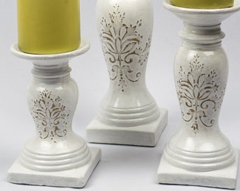 50% Off  Pillar Holders Set of Three Hand Painted in Bright White French Nordic Cottage Chic Coastal Cottage Decors