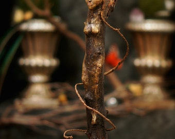Tree Nymph Sculpture. Primitive Art Doll In Clay And Tree Spirit Wood Carving OOAK Sculpture by Fae Factory Visionary Artist Dr Franky Dolan