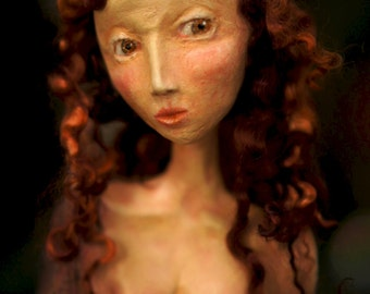 Tree Nymph Sculpture. Clay & Wood Carving Art Doll) by Fae Factory Visionary Artist Dr Franky Dolan (Fantasy Art Sculpture Wood Spirit Art)